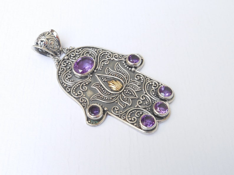 Solid heavy sterling Silver Hamsa Khamsa Amethyst gemstone gold pendant  silver 925  Bali art handmade jewelry  2.25 inch long #131p