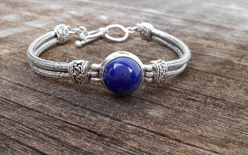 Chain Sterling Silver royal blue Lapis lazuli gemstone bracelet  silver 925  Bali blue stone jewelry #3028m
