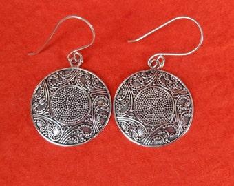 Balinese Granulation art.  Sterling Silver dangle Earrings / 1.75 inch long / silver 925 / Balinese handmade jewelry