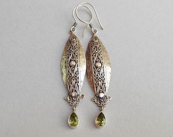Balinese Sterling Silver peridot dangle Earrings / 2.50 inch long / silver 925 / Balinese handmade jewelry / (#12ez)