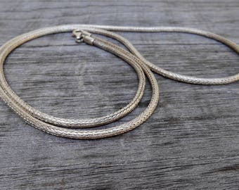 Balinese Chain solid sterling Silver necklace  / Silver 925 / Bali handmade jewelry / 70 cm long / (#805m)