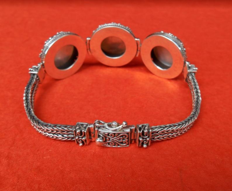 #311m Solid sterling silver white ocean mabe pearl bracelet  Bali handmade art jewelry granulation technique
