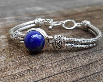 Chain Sterling Silver Lapis lazuli bracelet / silver 925 / Bali blue stone jewelry / (#3028m)
