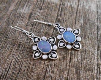 Silver sterling opal doublet dangle earrings / 1.35 inch long / silver 925 /  Balinese handmade jewelry / (#86m)