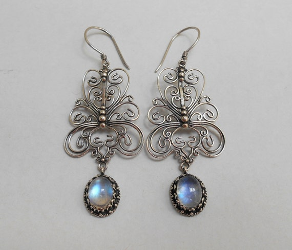 Balinese Sterling Silver moonstone gemstone dangle Earrings  2.25 inch long   Bali Handmade Jewelry