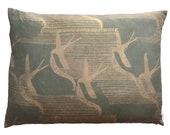 Par Avion Swallows Green Silk Cushion