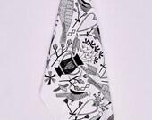 Sweethearts Cotton Tea Towel - Folk Birds, Hearts & Florals