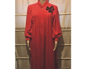 faea2e91710 Vintage DAVID BROWN Neiman Marcus beautiful red robe caftan size M