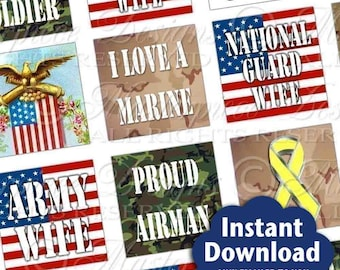 Support Our Troops Printable Squares / Military / Air Force / Army / Navy / Marines / Coast Guard / National Guard - Printable Collage JPG