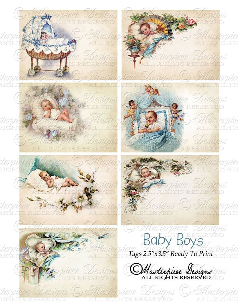 Instant Download and Print Collage Sheet Baby Boys Printable Hang Tags  Newborn  Baby Boy  Blue  Baby Shower  Baby Gift Gift Tags