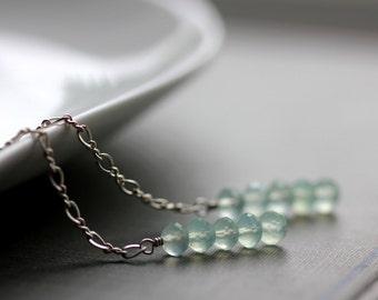 Long Dangle Earrings with Mint Green Chalcedony Gemstones and Sterling Silver Chain - Sea Foam