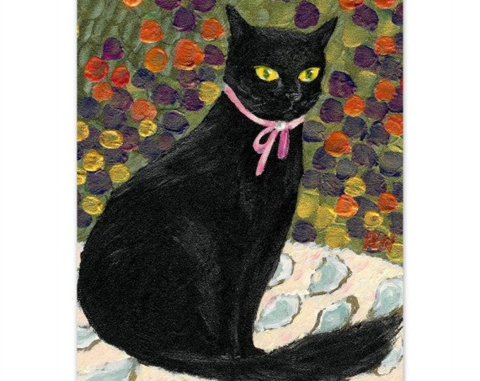 elegant cat painting A Black Cat On Oyster Mat the world is your oyster cat lover/'s gift portrait cat art print pink ribbon pearl