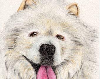 perro arte imprimir un perro perro blanco feliz amante regalo niño sala vivero decoración arte pared mascotas retrato, A3 de impresión A4, 8 x 10, 6 x 8