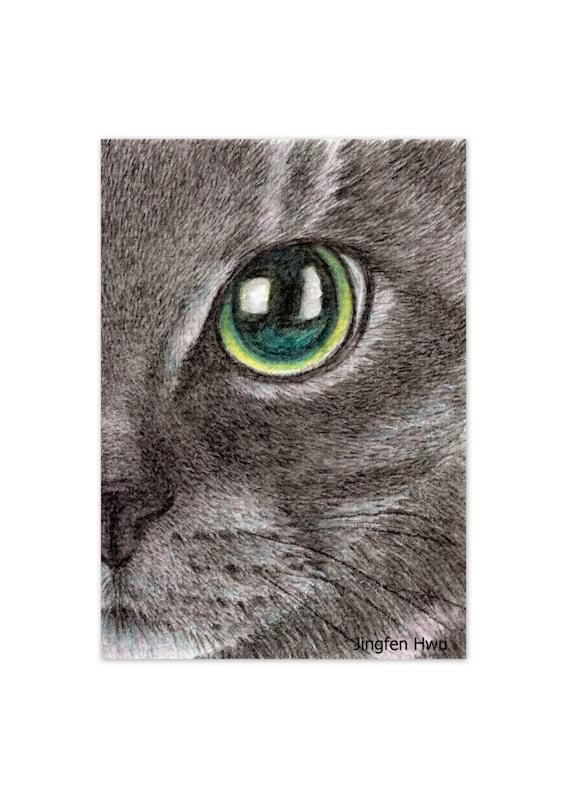 Crayon Aquarelle Dessin Réaliste Chat Réaliste Visage De Chat Noir Impression D Art De Chat Cadeau D Amant De Chat Commission Peinture