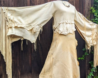 Buckskin Ceremonial Dress - Deerskin Powwow Regalia, Wrap Skirt, Fringe Top, Native American Deerskin Regalia, Leather Wedding Dress