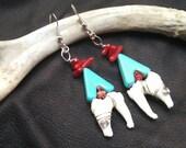 Spirit Medicine Earrings - Animal Totem Jewelry, Teeth Earrings, Native American Earrings, Howlite and Red Coral Jewelry, Bone Jewelry