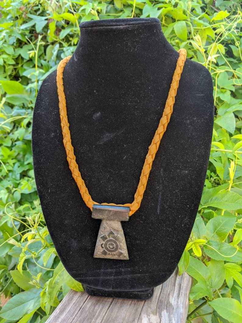 Native American Necklace Ollin Deerskin Necklace Leather Necklace Holistic Healing Guatemalan Jade Necklace Carved Jade Necklace