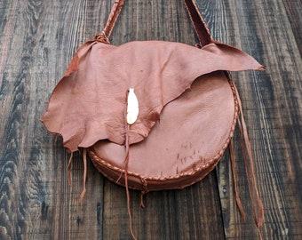 """Buckskin Drum Bag - Deerskin Drum Bag, Leather Tote, Native American Bag, Native Hand Drum, Rawhide Drum Bag, Leather Purse, 16x16"""" bag"""