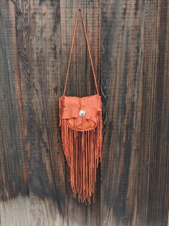 Handmade Deerskin Leather Bag with Natural Fringe