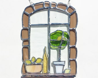 Lemons and Limoncellow Tuscan window scene in stained glass