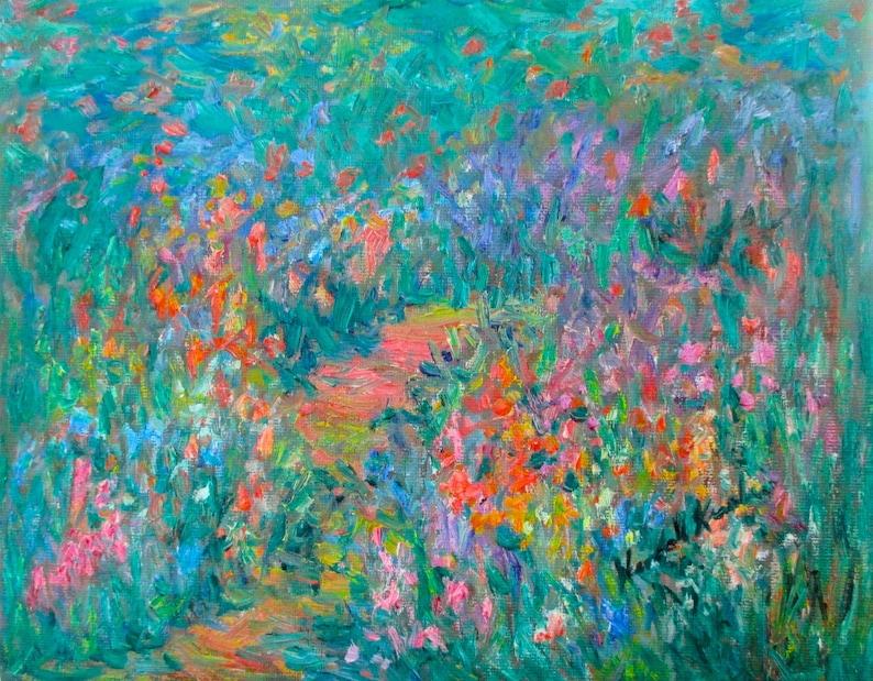 Wildflower Mist Art Original 10 x 8 wildflower Impressionist image 0