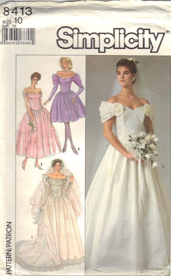 Vintage Simplicity 8413 Sewing Pattern Bridal Gown and BridesMaids ...