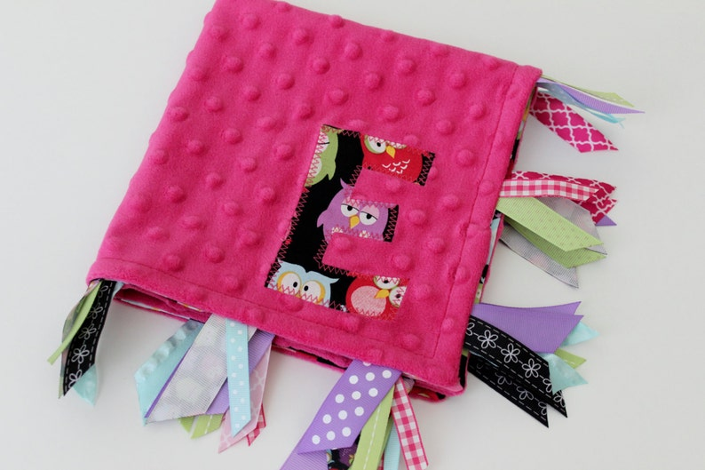 sensory custom personalized baby black gift blanket lovey tags owl large bird pink green minky taggie girl pink ribbon