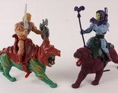 Vintage 1980s He-Man w/ Battlecat VS Skeletor w/ Panther Figurine Set