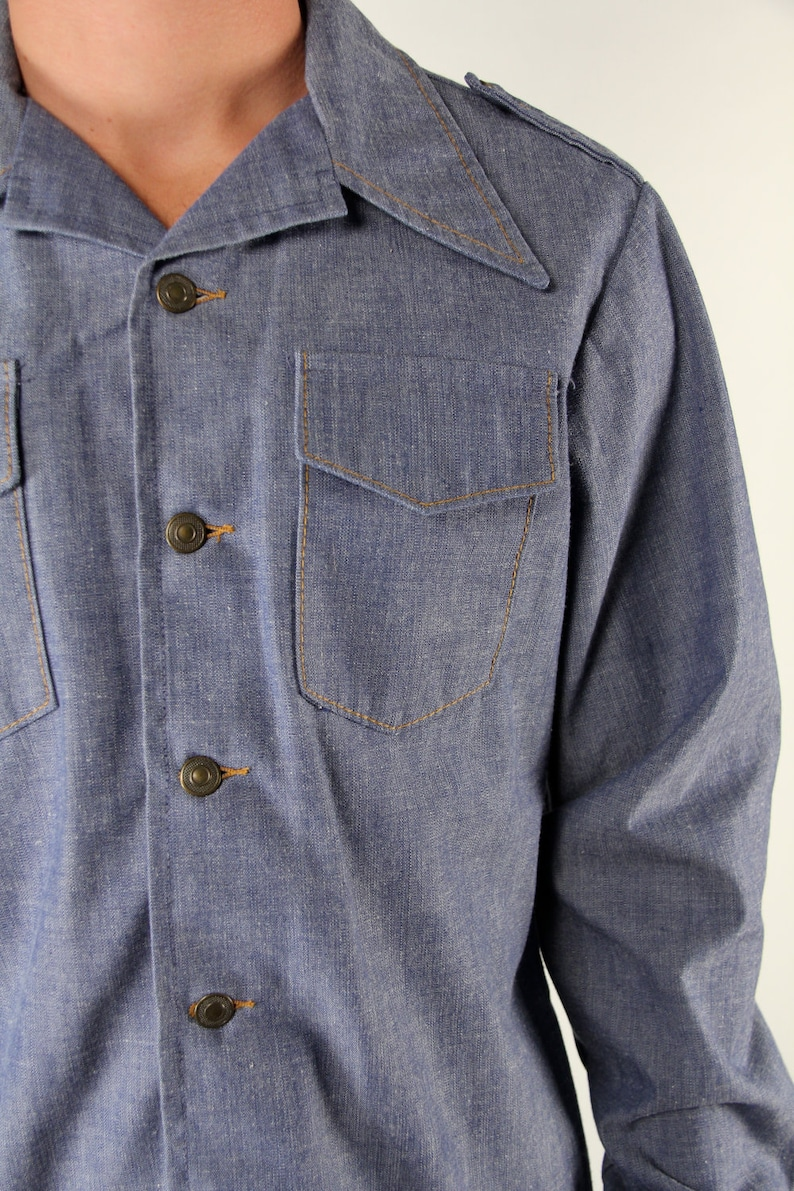 Vintage Denim Shirt American Long Sleeve L Brass Buttons