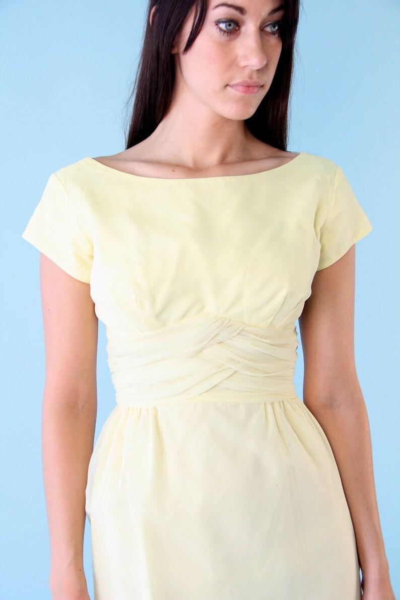 9ec9d46dee45 Vintage Dress Pastel Yellow Gown Lemon Pale Buttercup Chiffon | Etsy