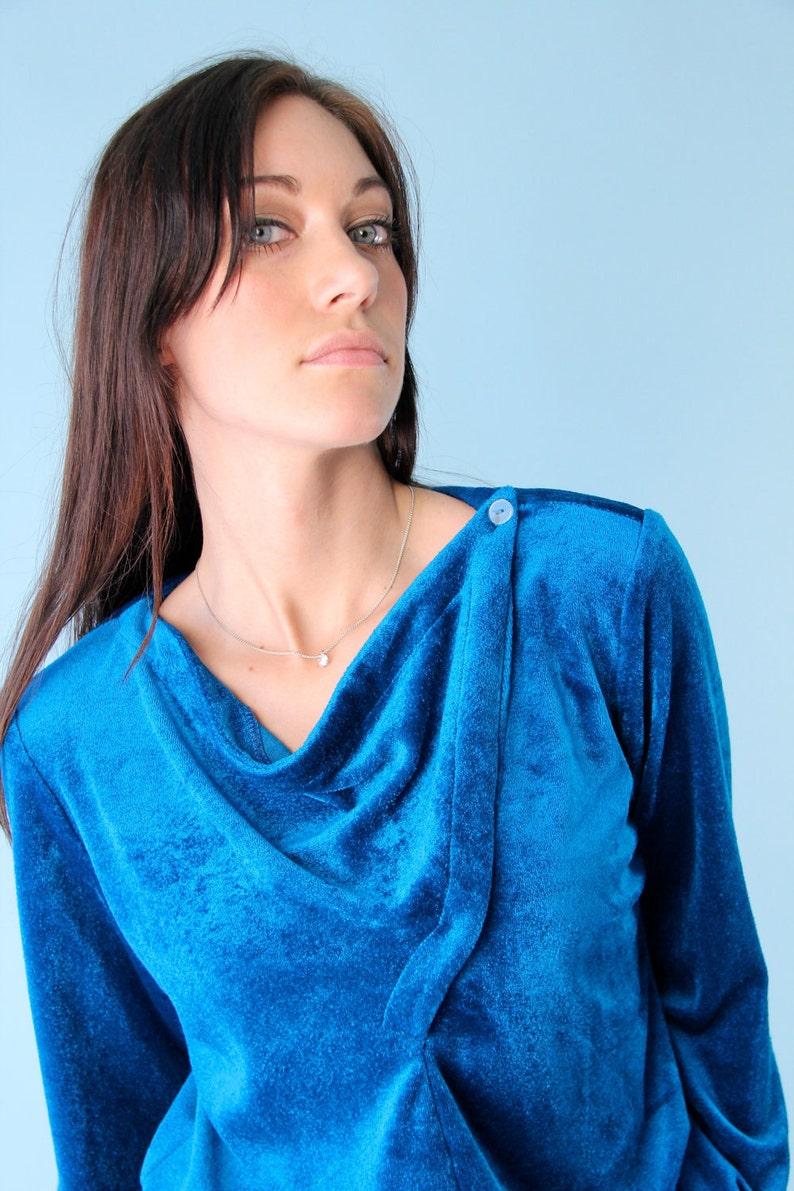 Vintage Velour Velvet Top Shirt Jewel Blue 70s Small