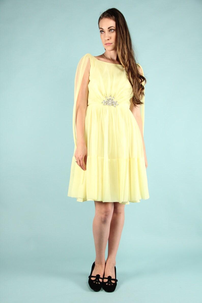 bfb0a9a07caf Vintage 60s Lemon Yellow Nylon Chiffon Mini Dress Gown | Etsy