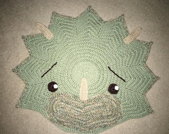 Crochet  Dinosaur Rug - Triceratops