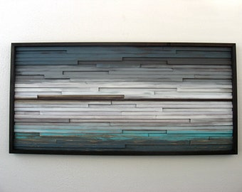 Abstract Wood Wall Art of Ocean Landscape Painting 4x48