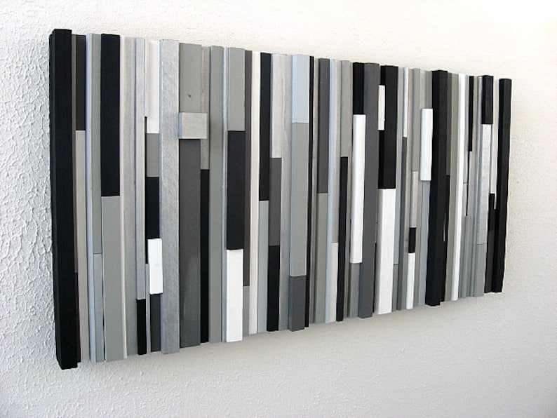 Black And White Abstract Art Modern Wall Art Wood Sculpture Black White Greys Silver