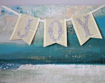 Joy Banner - Champagne Glitter Whimsical Decor - Ready to Hang