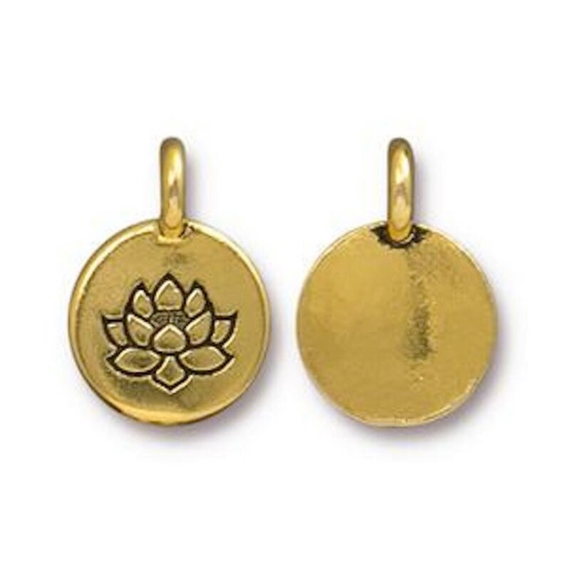 TierraCast Lotus Charm in Silver Made in the USA Gold Width 11.6mm Height 16.6mm Copper or Brass Antique Plated Pewter