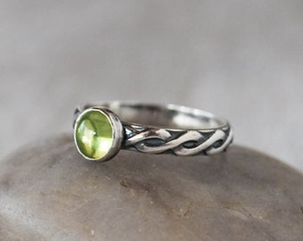 Peridot Ring in Sterling Silver - Handcrafted Artisan Silver Ring - Sterling Silver Peridot Gemstone Ring