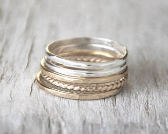 Set of 5 Gold and Silver Stacking Ring Set - 14k Gold-Filled, Sterling Silver Stack Rings - Handcrafted Gold and Silver Ring Stack Set