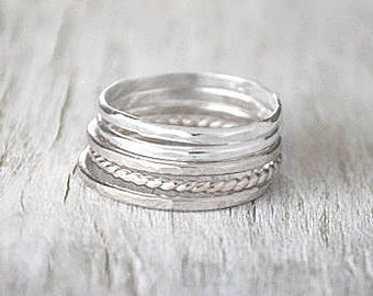 Set of 5 Silver Stacking Ring Set - Sterling Silver Stack Rings - Handcrafted Silver Ring Stack Set