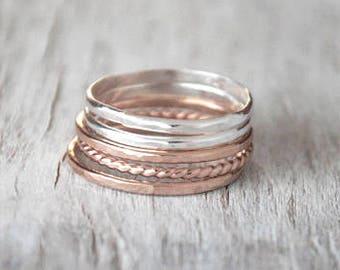 Set of 5 Rose Gold and Silver Stacking Ring Set - 14k Rose Gold-Filled, Sterling Silver Stack Rings - Handcrafted Rose Gold Ring Stack Set