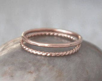 2 Rose Gold Stacking Ring Set - 14k Rose Gold-Filled Stack Rings - Handcrafted Rings - Rose Gold Skinny Ring Stack Set