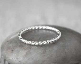 Skinny Twist Sterling Silver Stacking Ring  - Sterling Silver Stack Ring  - Handcrafted  Silver Ring  - Silver Ring Stack