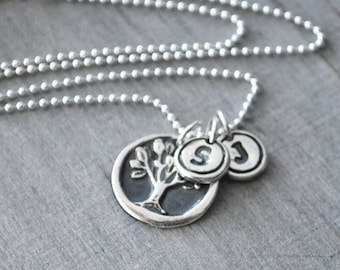 Silver Tree of Life Necklace with TWO Initial Letters with Circle Border -  Sterling Silver Chain - .999 Fine Silver Tree Charm