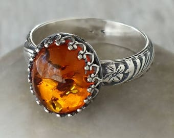 Amber Ring in Sterling Silver - Sterling Silver Amber Ring - Handcrafted Artisan Silver Ring