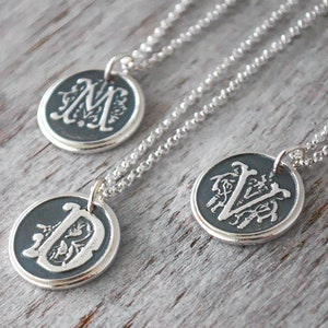 Custom Initial Necklace Sterling Silver Monogram Necklace Personalized Wax Seal Initial Necklace