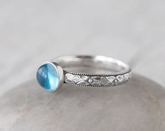 Swiss Blue Topaz Ring in Sterling Silver - Handcrafted Artisan Ring - December Birthstone - Blue Topaz Gemstone Ring