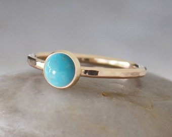Gold Turquoise Ring in 14k Gold-Filled - Turquoise Stacking Ring - Handcrafted Artisan Ring - American Turquoise