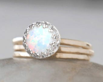 Gold Opal Ring Set in 14k Gold-Filled - Opal Stacking Rings Set - Handcrafted Artisan Ring - October Birthstone