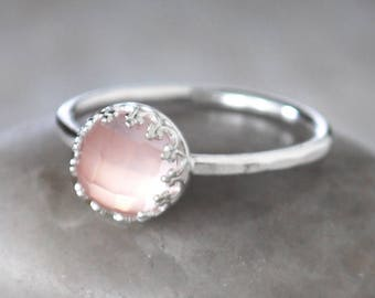 Rose Quartz Ring in Sterling Silver - Handcrafted Artisan Silver Ring  - Sterling Silver Rose Quartz Stack Ring